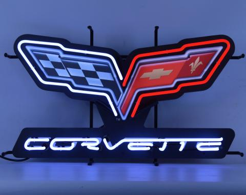 Neonetics Standard Size Neon Signs, Corvette C6 Flags Neon Sign with Backing