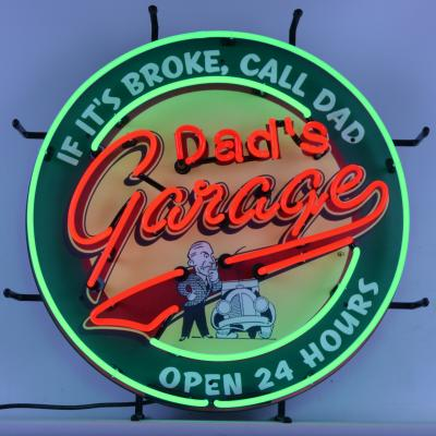 Neonetics Standard Size Neon Signs, Dad's Garage Neon Sign with Backing