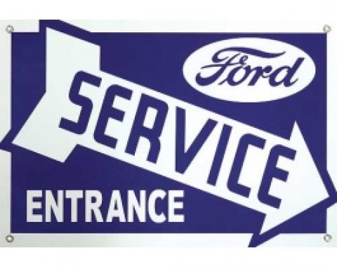 Ford Service Entrance Sign, Single Sided, Arrow Points Right, 18 x 12-1/2