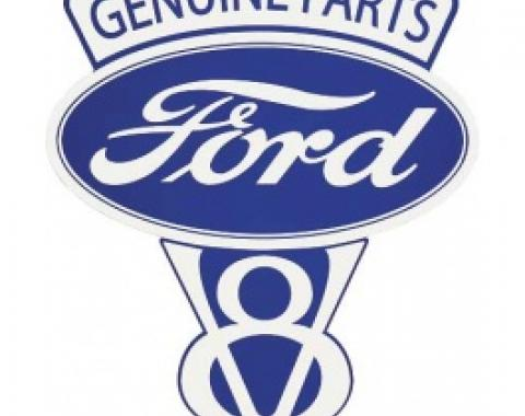 Genuine Ford Parts V8 Sign, Double Sided With Hanger, 22 x 27