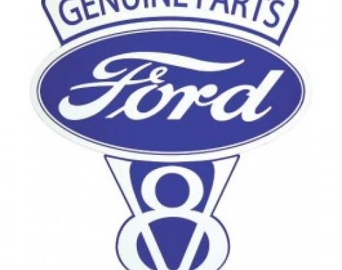 Genuine Ford Parts V8 Sign, Single Sided, 14-1/2 x 18