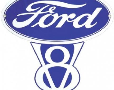 Ford V8 Sign, Single Sided, 14-3/4 x 15