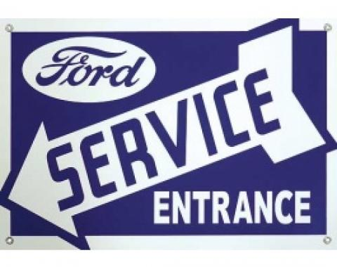 Ford Service Entrance Sign, Single Sided, Arrow Points Left, 18 x 12-1/2