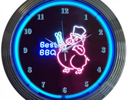 Neonetics Neon Clocks, Bbq Pig Neon Clock