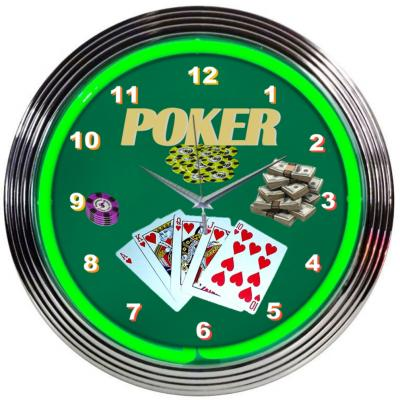 Neonetics Neon Clocks, Poker Green Neon Clock