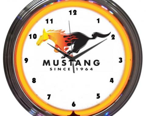 Neonetics Neon Clocks, Ford Mustang Since 1964 Orange Neon Clock
