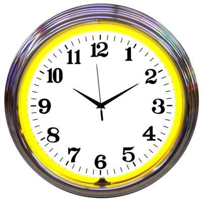 Neonetics Neon Clocks, Chrome Yellow Standard Neon Clock