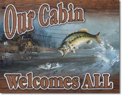Tin Sign, Our Cabin Welcomes All