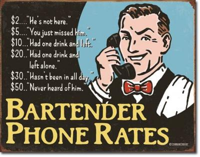 Tin Sign, Bartender's Phone Rates