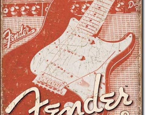 Tin Sign, Fender Weathered G&A