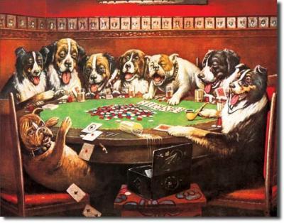 Tin Sign, 8 Druken Dogs Playing Cards