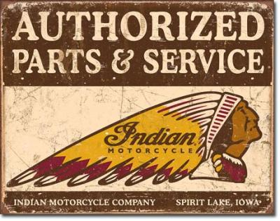 Tin Sign, Authorized Indian Parts and Service