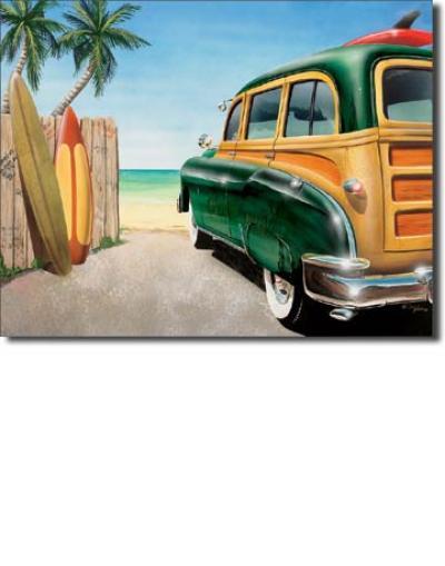 Tin Sign, Retro Auto - Beach Woody