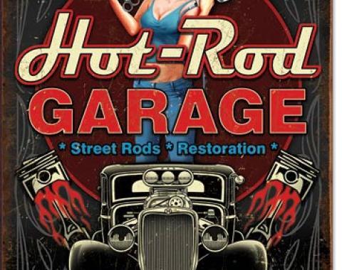 Tin Sign, Hot Rod Garage - Pistons