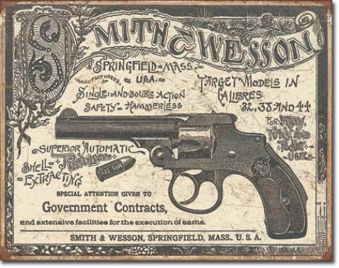 Tin Sign, S&W - 1892 Gov. Contracts