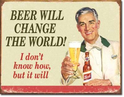 Tin Sign, Ephemera - Beer Change Wood