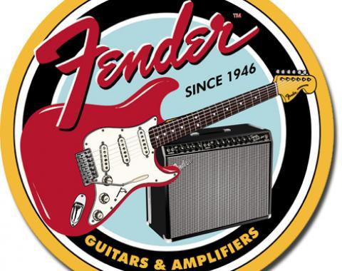 Tin Sign, Fender Round G&A