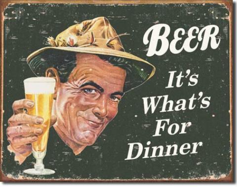 Tin Sign, Ephemera - Beer for Dinner