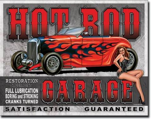 Tin Sign, Legends - Hot Rod Garage