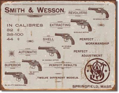 Tin Sign, S&W - Revolvers