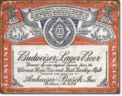 Tin Sign, Budweiser Historic Label