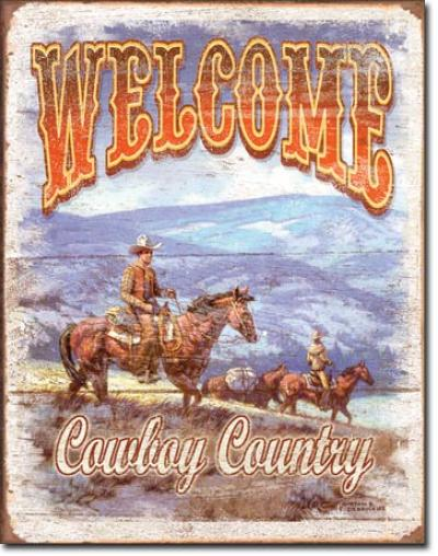Tin Sign, Welcome - Cowboy Country
