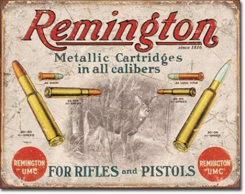 Tin Sign, REM - For Rifles & Pistols