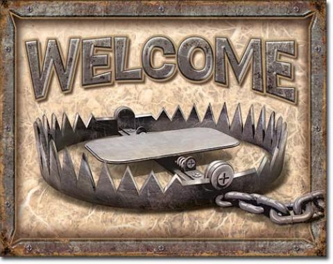 Tin Sign, Welcome - Bear Trap