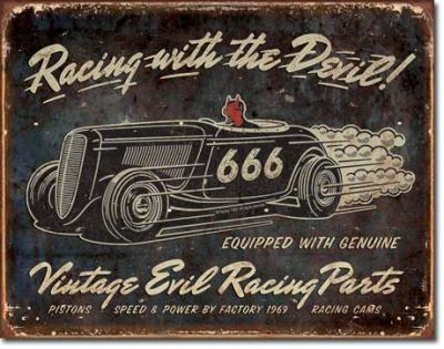 Tin Sign, Vintage Evil Racing