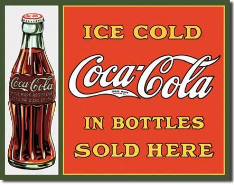 Tin Sign, COKE Sold Here in Bottles