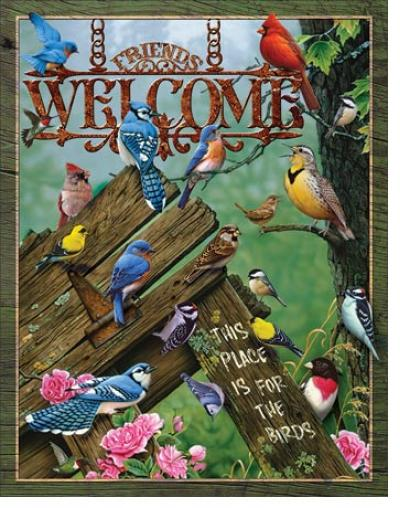 Tin Sign, Welcome - Place for the Birds