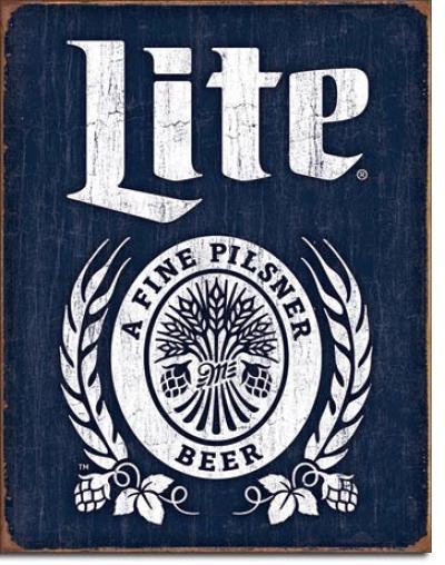 Tin Sign, Miller Lite Bottle Logo