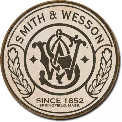 Tin Sign, Smith & Wesson - Round