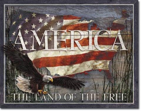 Tin Sign, America - Land of Free