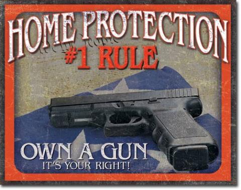 Tin Sign, Home Protection - #1 Rule