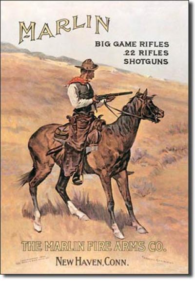 Tin Sign, Marlin/ Cowboy on Horse