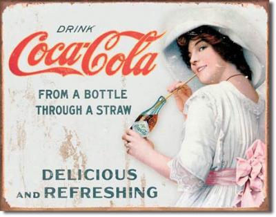 Tin Sign, COKE - Thru a Straw