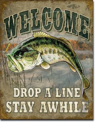 Tin Sign, Welcome Bass Fishing