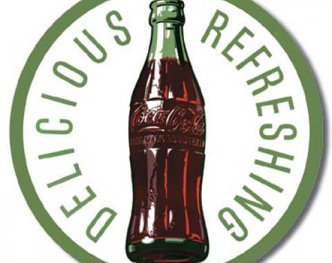 Tin Sign, COKE - Round 60's Bottle & Logo