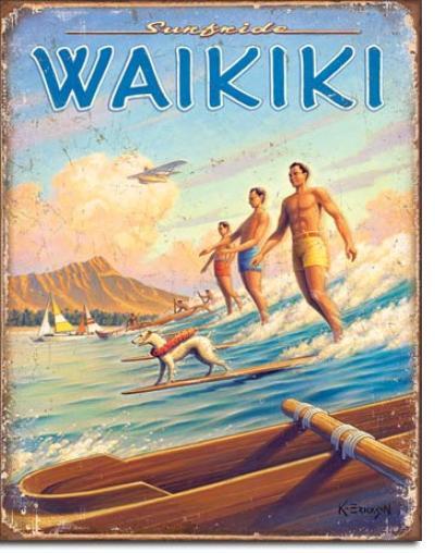 Tin Sign, Hawaii - Surfside