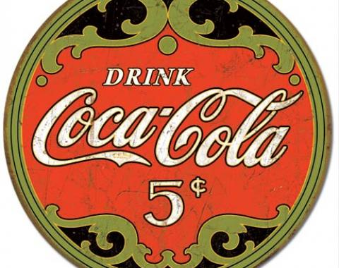 Tin Sign, COKE - Round 5 Cents