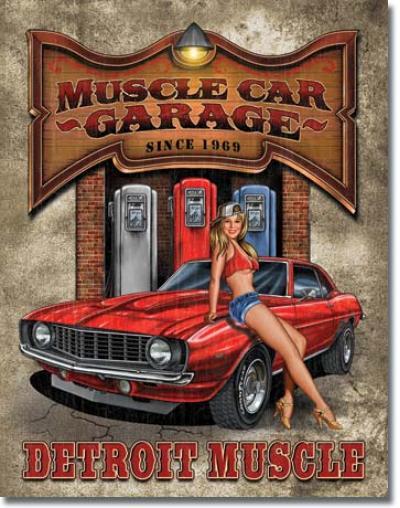 Tin Sign, Legends - Muscle Car Garage