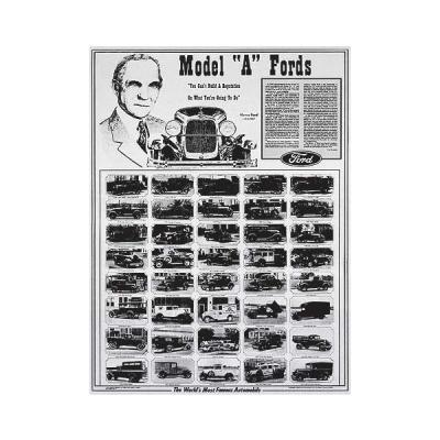 Poster - Model A Ford The Worlds Most Famous Automobile - Laminated In Plastic - 25 x 34