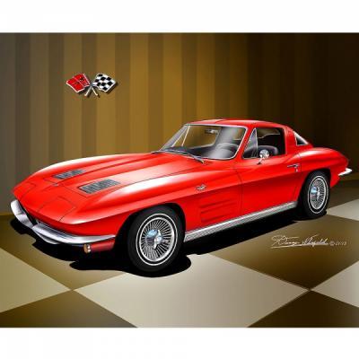 Corvette Fine Art Print By Danny Whitfield, 16x20, Stingray Coupe, 1967