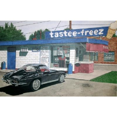 Corvette The Tastee Freez, Fine Art Print By Dana Forrester, 11x17