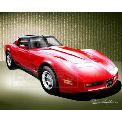 Corvette Fine Art Print By Danny Whitfield, 14x18, StingrayCoupe, Red, 1981