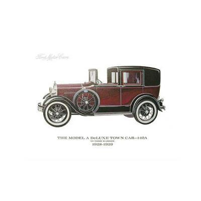 Model A Print - 28-29 Ford Deluxe Town Sedan (140A) - 11 x 14 - Unframed