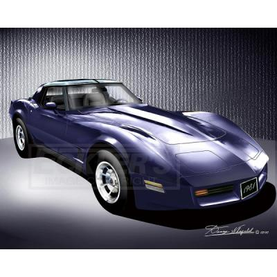Corvette Fine Art Print By Danny Whitfield, 20x24, StingrayCoupe, Dark Blue, 1981