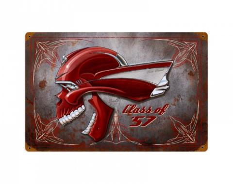 Chevy Skull Metal Sign, Class Of 57 Pinstripe