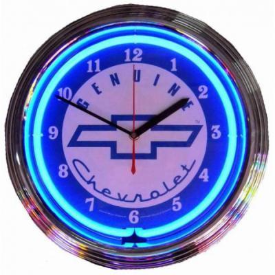Clock, Neon Chevy, Blue